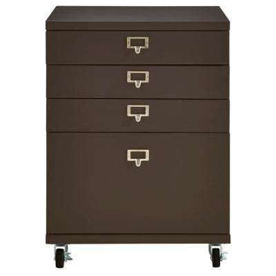 Becker 4-Drawer Gunmetal Metal Cart