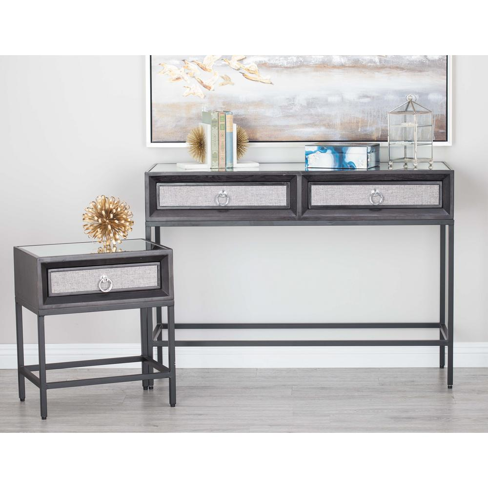 Wood And Metal Console Part - 21: Classic Black Wood And Metal Console Table And End Tables Set (Set Of  3)-39859 - The Home Depot