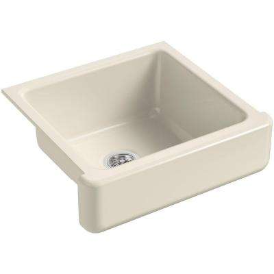 Whitehaven Farmhouse Short Apron-Front Cast Iron 24 in. Single Basin Kitchen Sink in Almond