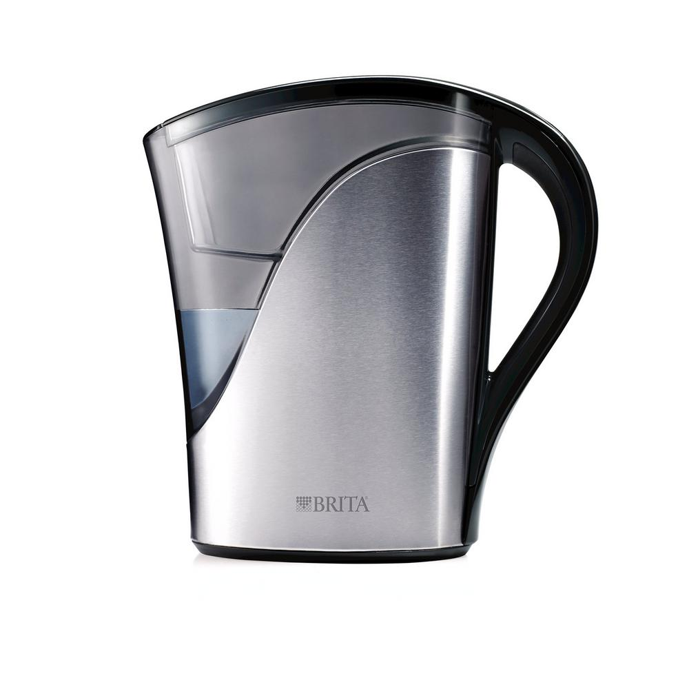 8-Cup Filtered Water Pitcher in Stainless Steel, BPA Free