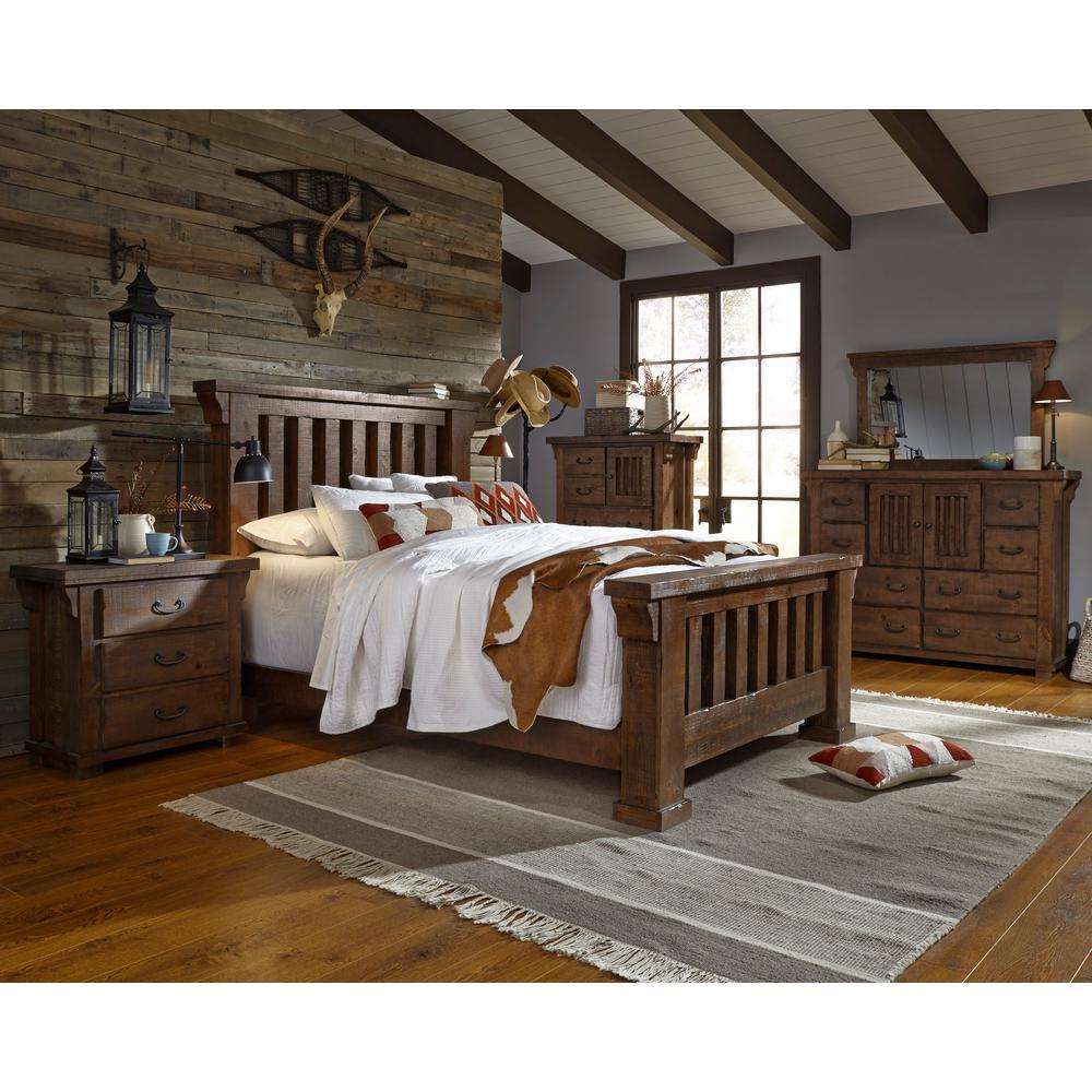 Forrester Tobacco Queen Complete Slat Bed
