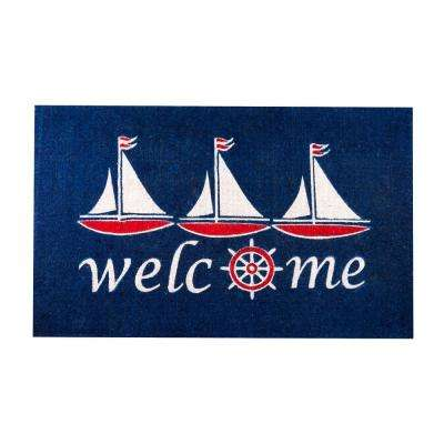 Sailboat Nautical Blue 48 in. x 30 in. Coir Door Mat