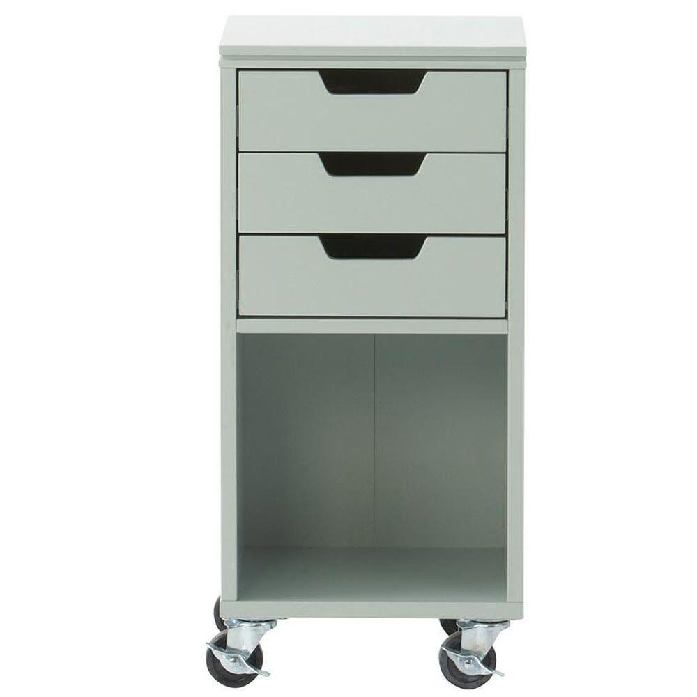 Home Decorators Collection Avery 13 in. W 3-Drawer MDF Single Bin Mobile Cart in Sea Glass