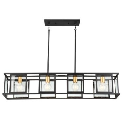 4-Light Black Trestle Pendant with Clear Beveled Glass