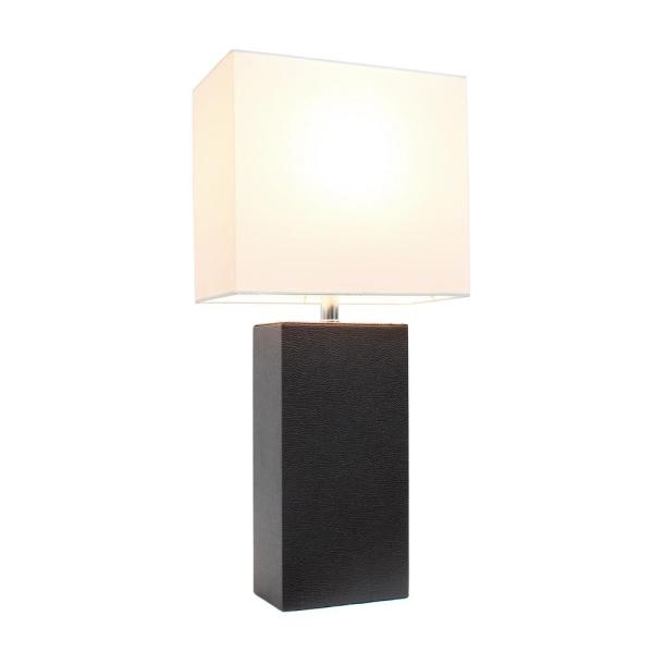 Elegant Designs 21 In Modern Espresso Brown Leather Table Lamp With White Fabric Shade Lt1025 Bwn The Home Depot