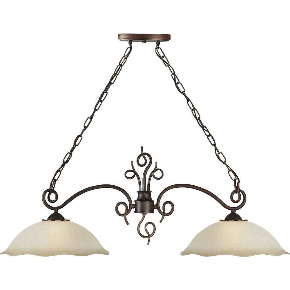 Illumine 2 Light Island Pendant Antique Bronze Finish Shaded Umber Glass-DISCONTINUED
