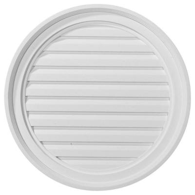 22 in. x 22 in. Round Primed Polyurethane Paintable Gable Louver Vent Functional