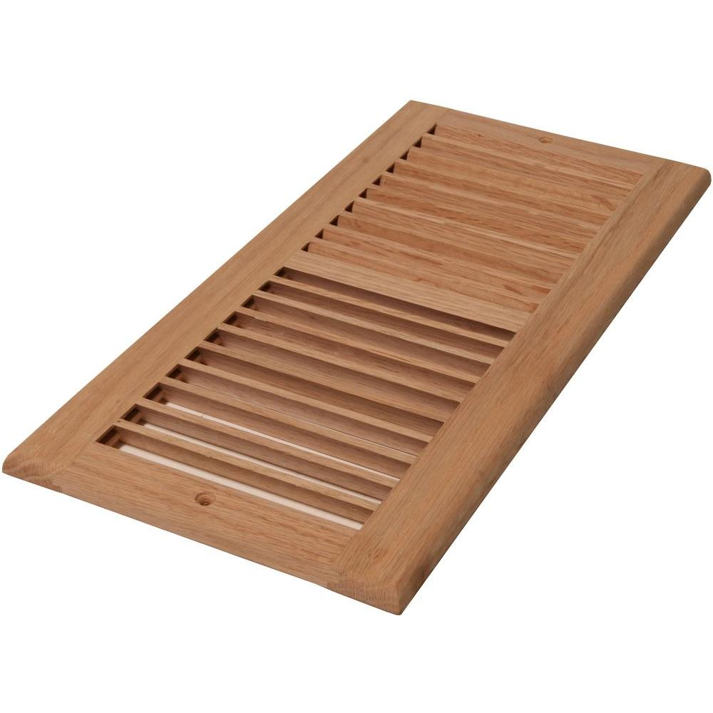 Decor Grates 6 in. x 14 in. Wood Unfinished Oak Louvered ...