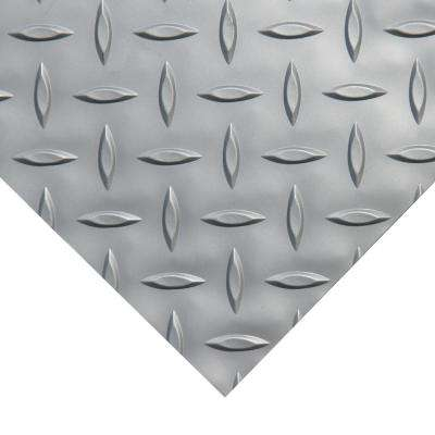 Diamond-Plate Metallic 4 ft. x 8 ft. Silver PVC Flooring (32 sq. ft.)