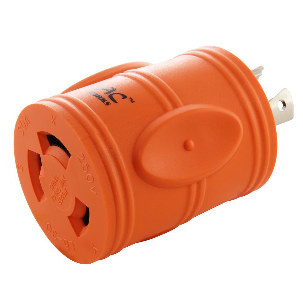 Plug Adapter L6-20P 20 Amp 250-Volt Male Plug to L6-30R 30 Amp Female Connector