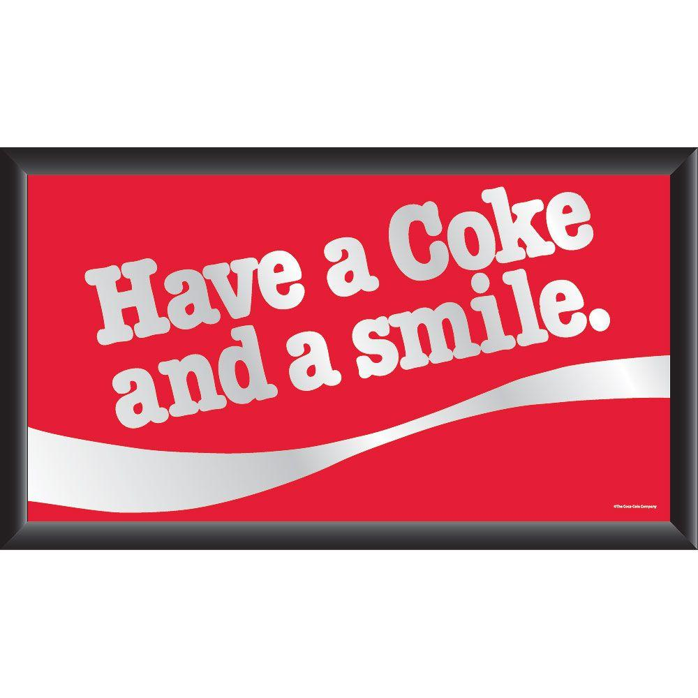 Trademark Coca-Cola Have a Coke and a Smile 15 in. x 26 in. Black Wood Framed Mirror