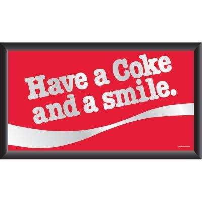 Coca-Cola Have a Coke and a Smile 15 in. x 26 in. Black Wood Framed Mirror