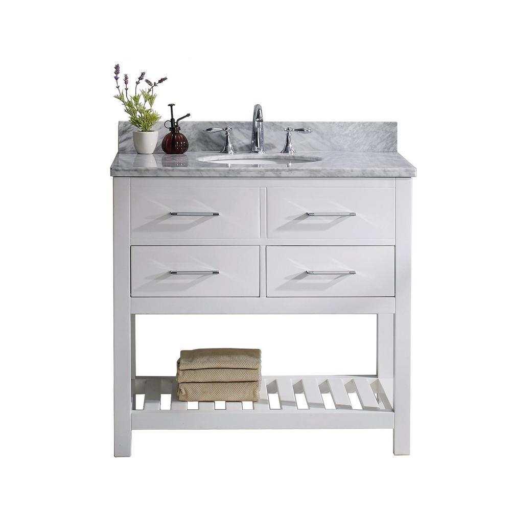 Virtu USA Caroline Estate 36 inch W x 22 inch D Single Vanity in White with Marble Vanity Top in White with White Basin by Virtu USA