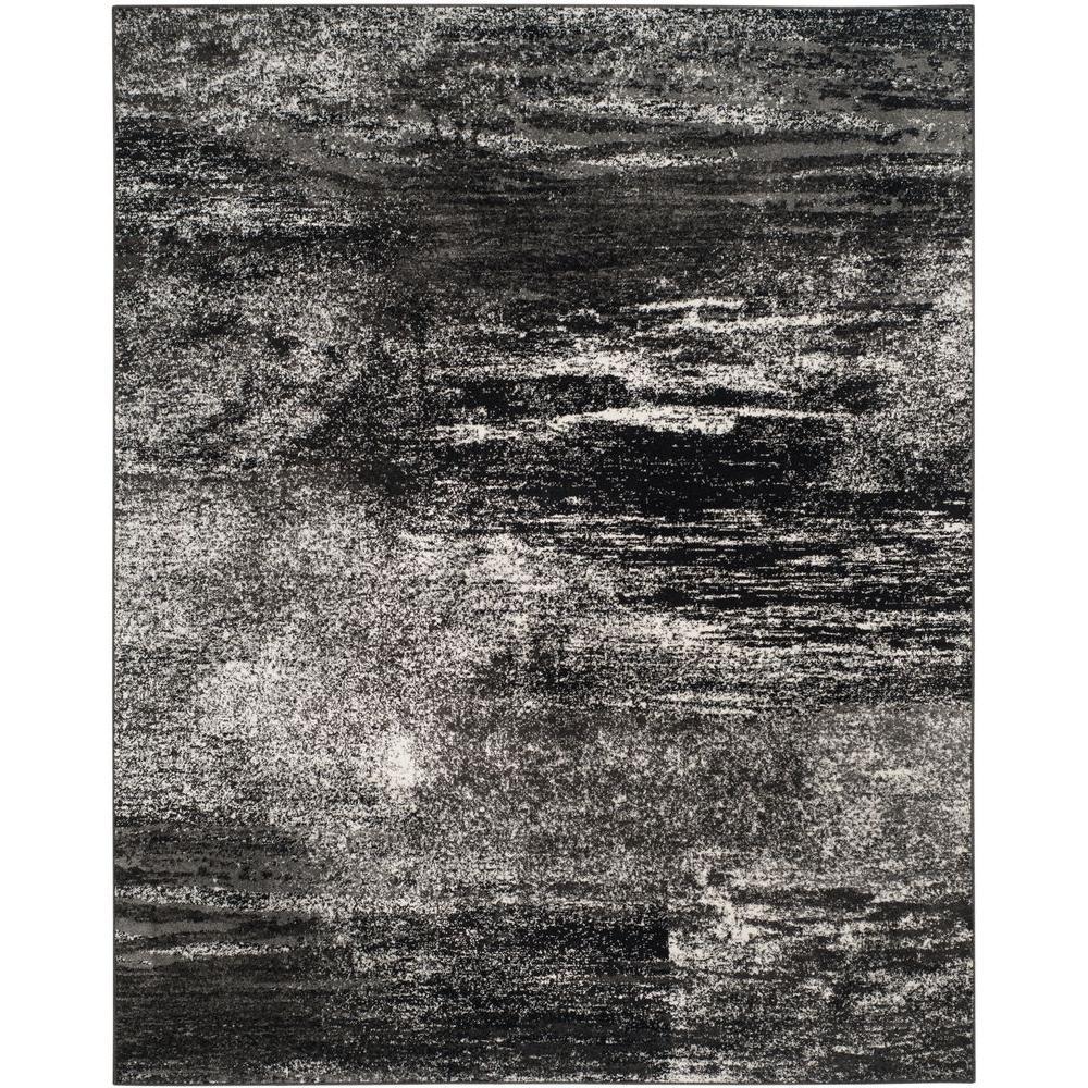 Adirondack Silver/Black 9 ft. x 12 ft. Area Rug