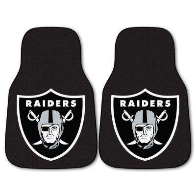 Oakland Raiders 18 in. x 27 in. 2-Piece Carpeted Car Mat Set