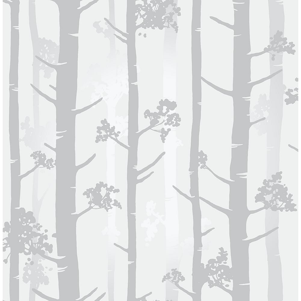 Brewster 56.4 sq. ft. Sydow Grey Birch Tree Wallpaper