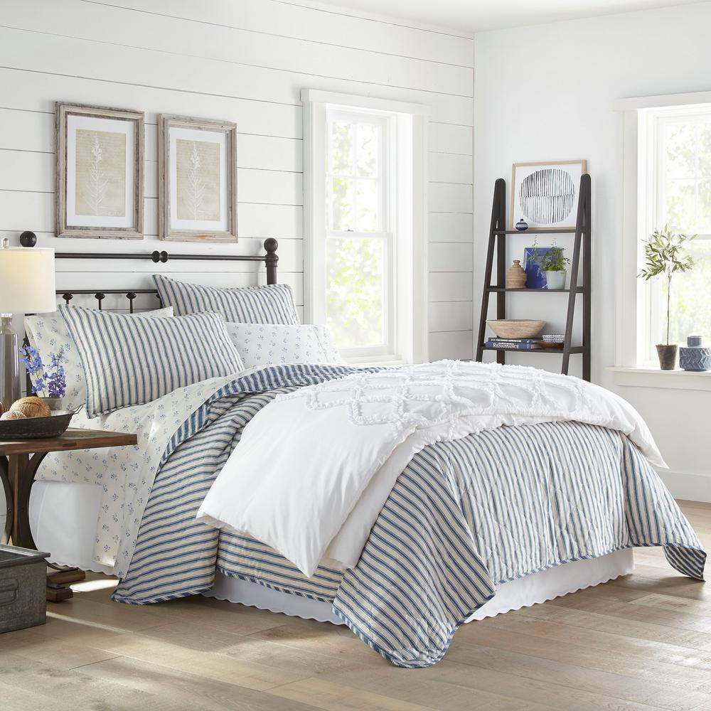 Willow Way Ticking Stripe 2-Piece Navy Blue Cotton Twin Quilt Set