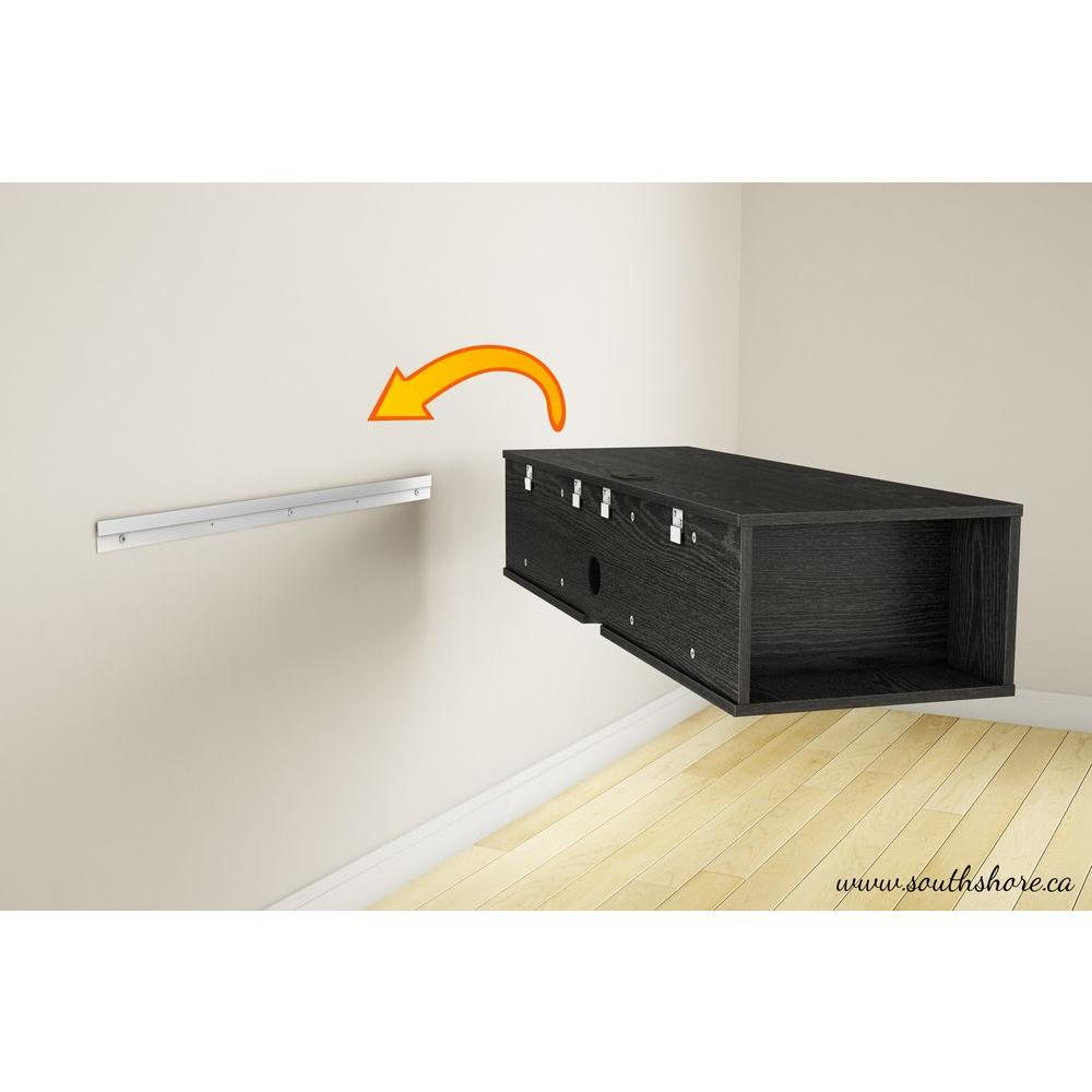 South S City Life 50 Disk Capacity Wall Mounted Media Console In Black Oak 4147675 The Home Depot