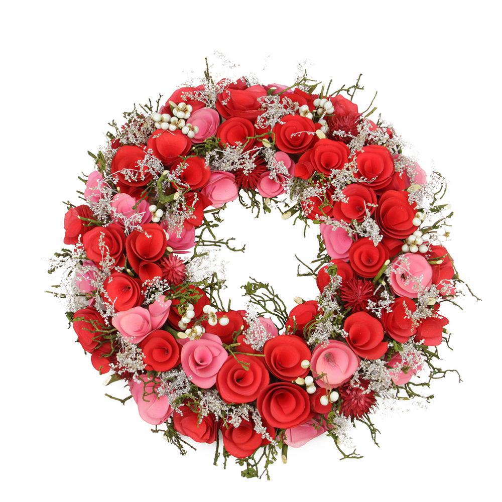 Northlight 12 in. Pink and Red Flowers White Berries and Twig Artificial Spring Floral Wreath