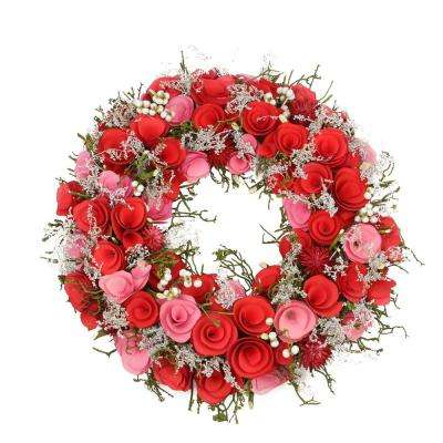 12 in. Pink and Red Flowers White Berries and Twig Artificial Spring Floral Wreath