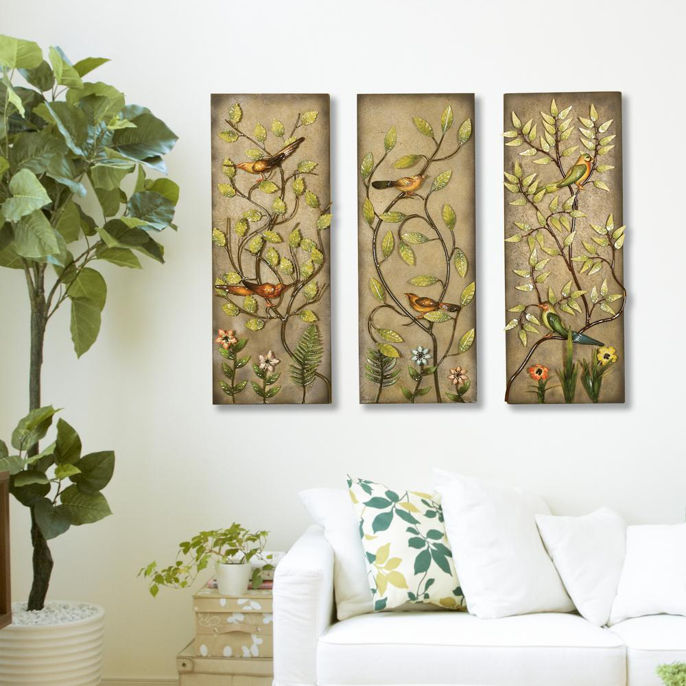 Multicolored Rectangular Leaf Metal Work Wall Decor 2154 The Home
