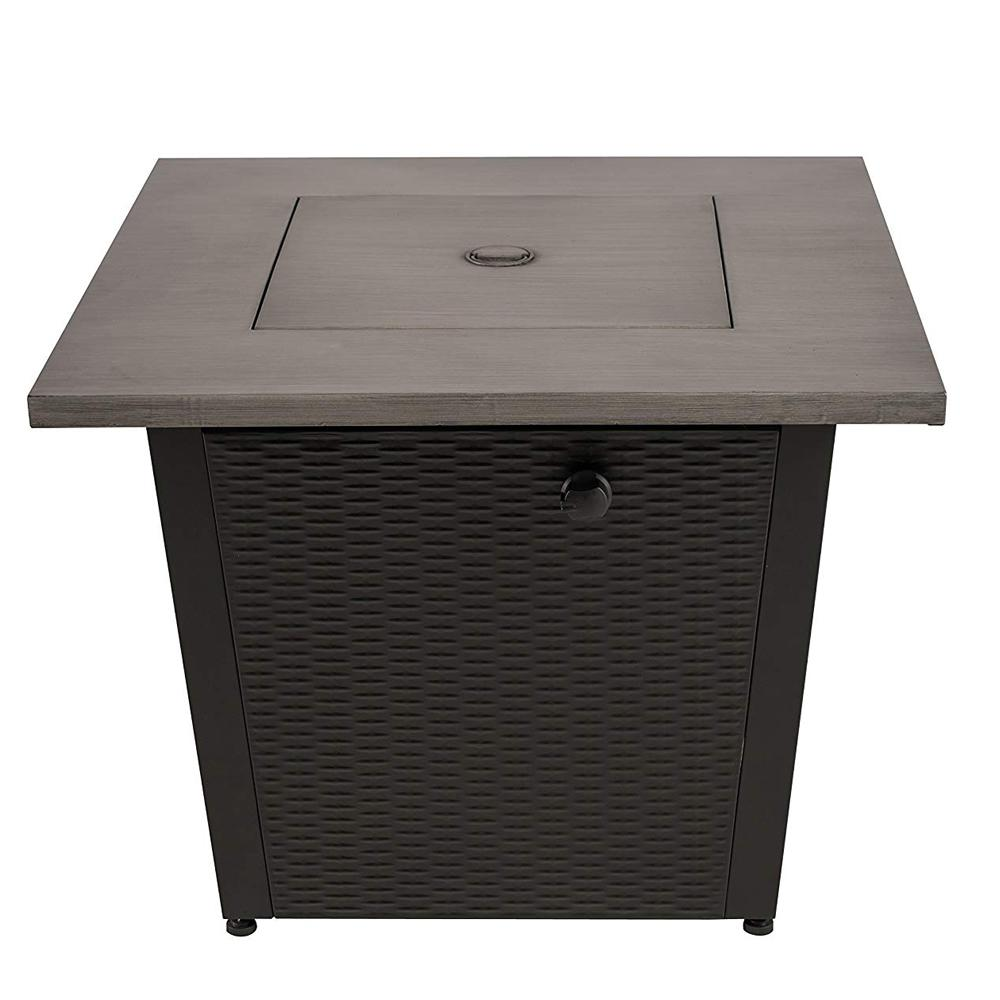Legacy Heating 32 in. W x 25 in. H Square Steel Wicker Base Propane Fire Pit with Table Top in Grey