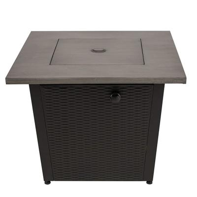 32 in. W x 25 in. H Square Steel Wicker Base Propane Fire Pit with Table Top in Grey