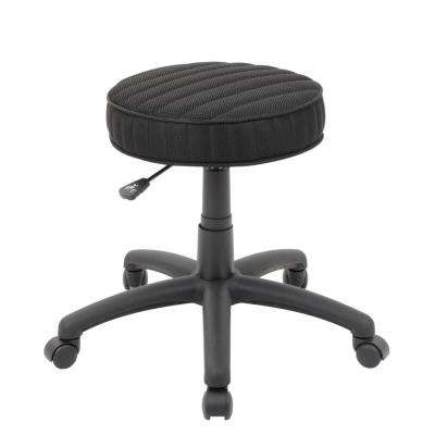 23 in. Black Mesh Ribbed Stitch Stool