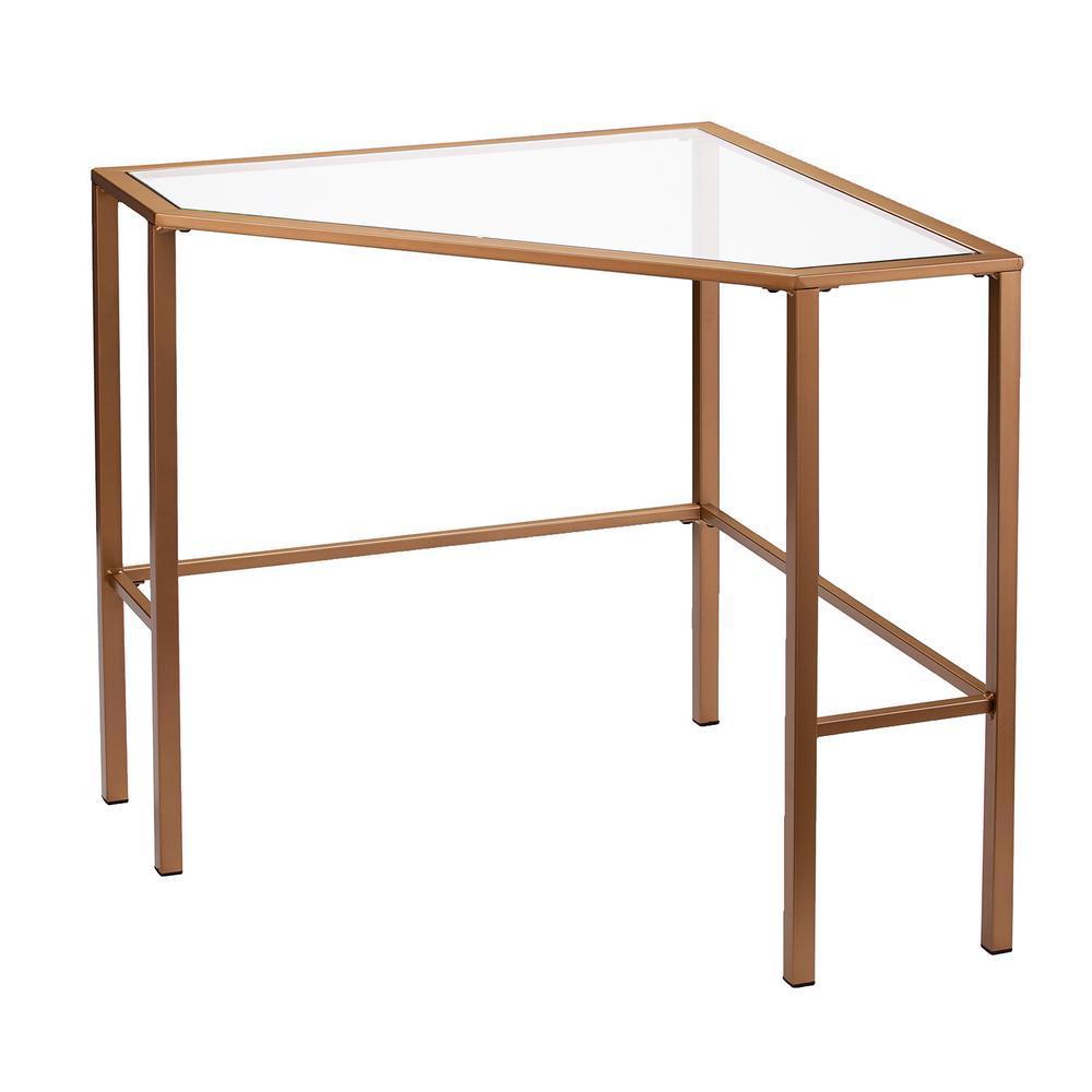 Selter Gold Metal/Glass Corner Desk