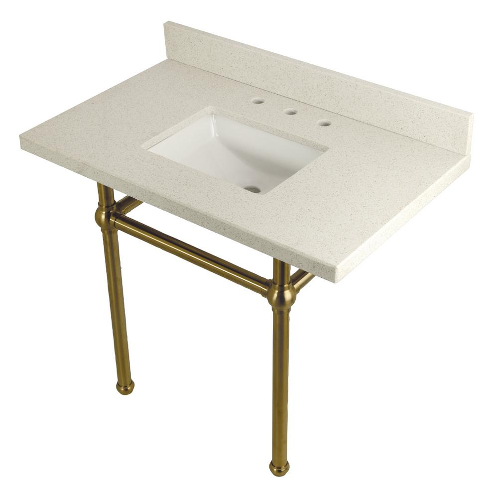 Square-Sink Washstand 36 in. Console Table in White Quartz with Metal