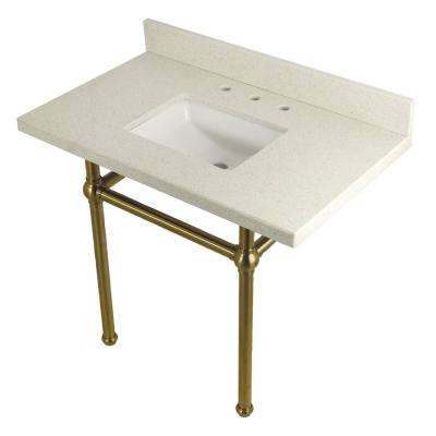 Square-Sink Washstand 36 in. Console Table in White Quartz with Metal Legs in Satin Brass