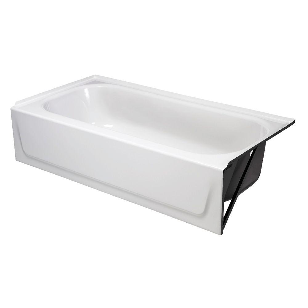 Right Drain Rectangular Alcove Soaking Bathtub In White