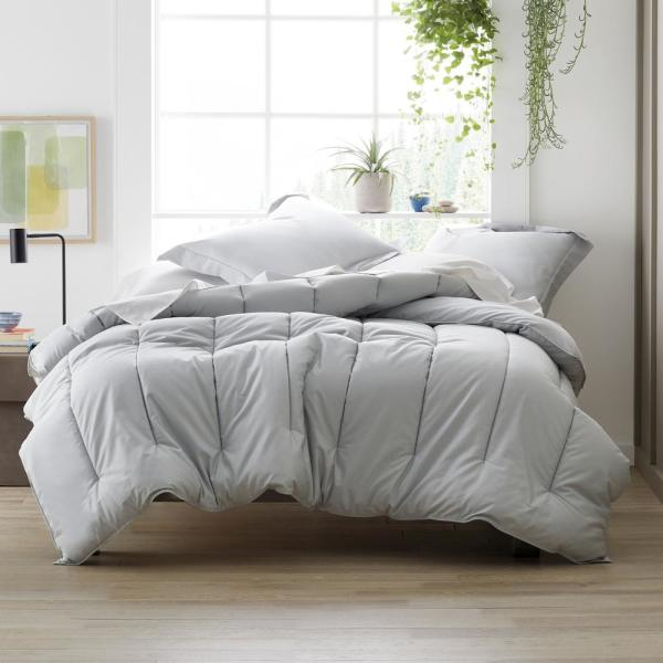 Misty Floral Grey Cotton Sateen Quilt Cover Set by Bedding House QUEEN KING