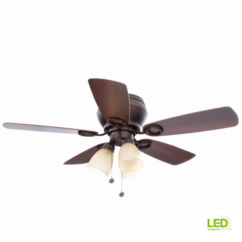 Whitlock 44 in. LED Indoor Mediterranean Bronze Ceiling Fan with Light
