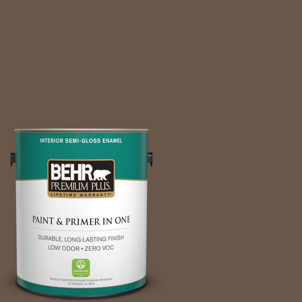 1 gal. #PPU7-25 Clove Brown Zero VOC Semi-Gloss Enamel Interior Paint