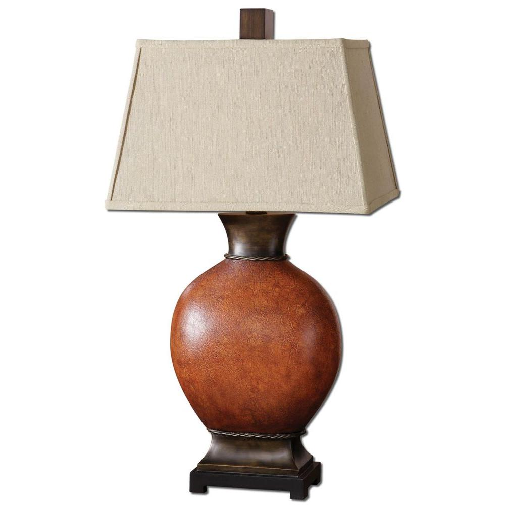 Burnished Red Table Lamp