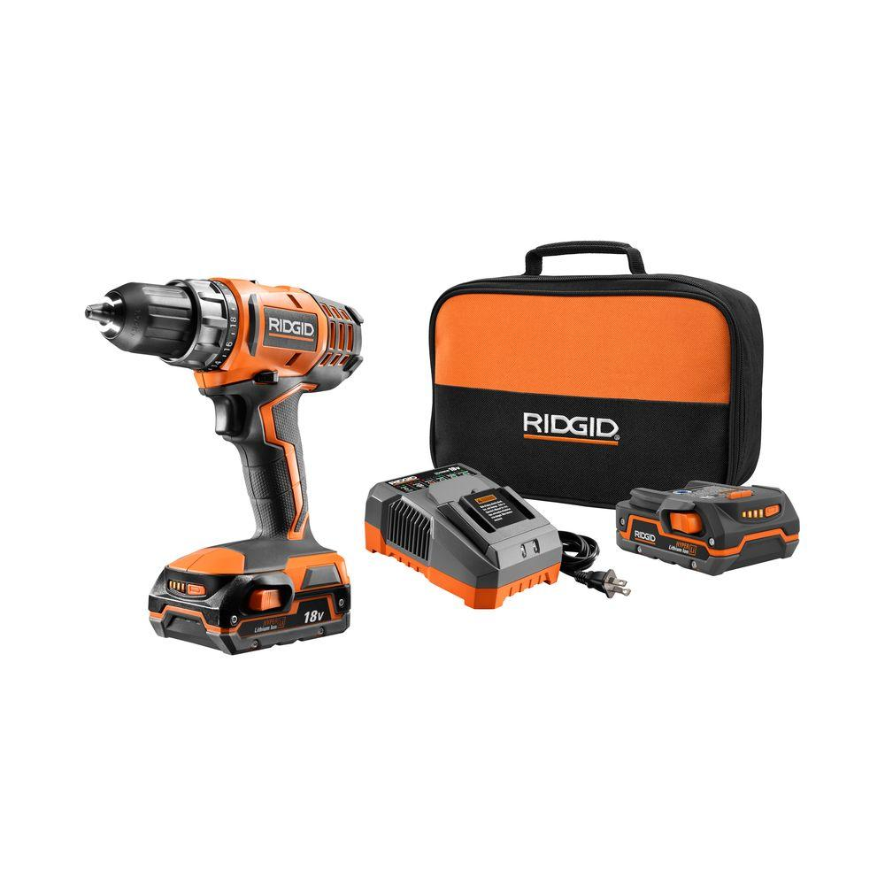RIDGID 18-Volt Lithium-Ion Cordless 1/2 in. Compact Drill/Driver Kit with (2) 1.5Ah Batteries Charger and Bag