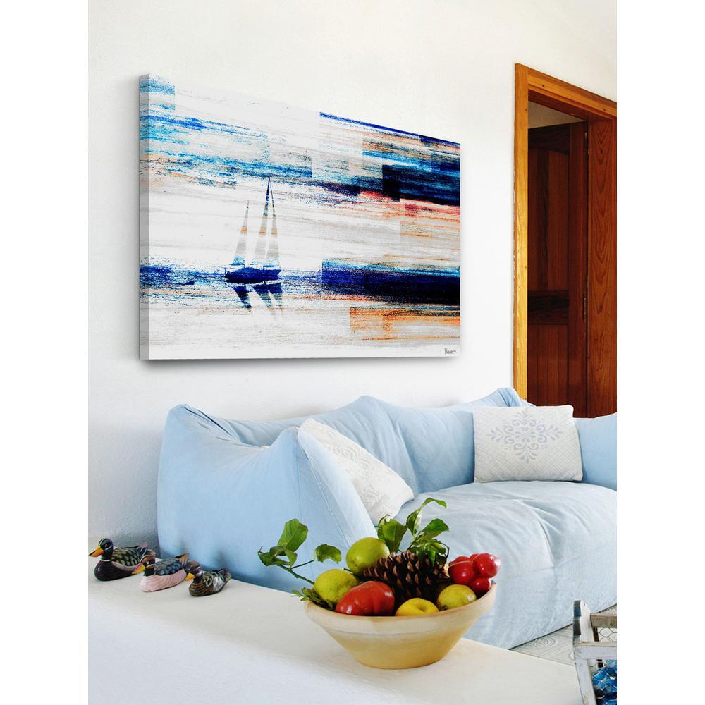 "24 in. H x 36 in. W ""Aegean Sea"" by Parvez Taj Printed Canvas Wall Art"