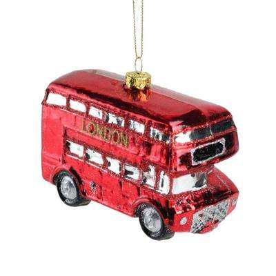 Red and Gold Glittered Double Decker Glass Tour Bus Christmas Ornament