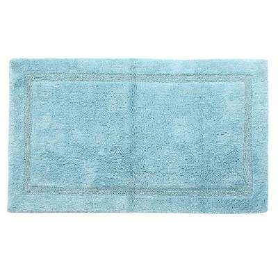 Regency 24 in. x 17 in. and 34 in. x 21 in. 2-Piece Set Cotton Arctic Blue Non-Skid Backing Machine Washable Bath Rug