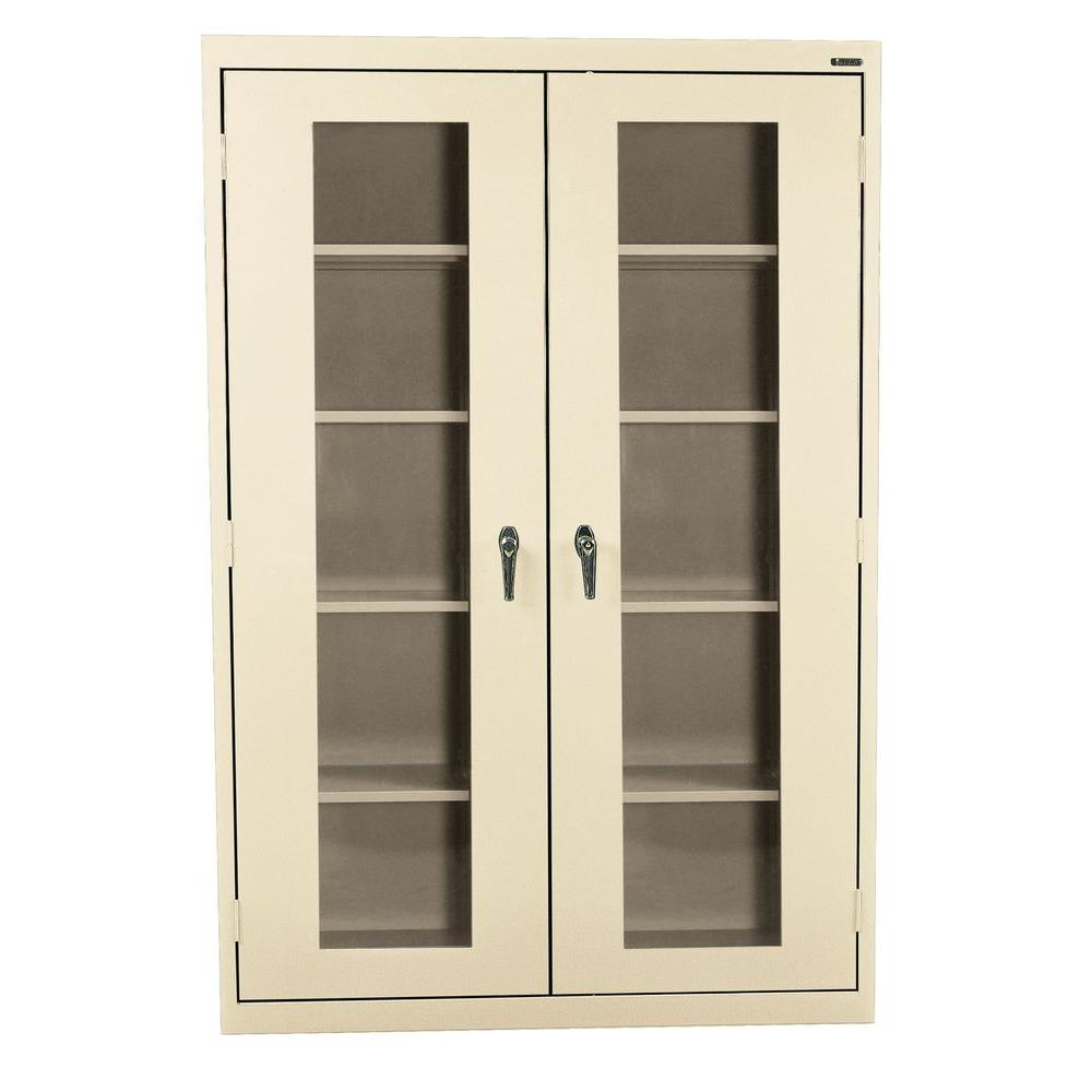 Sandusky 78 in. H x 46 in. W x 24 in. D Freestanding Steel Cabinet with Acrylic Doors in Putty