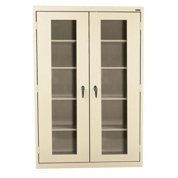 78 in. H x 46 in. W x 24 in. D Freestanding Steel Cabinet with Acrylic Doors in Putty