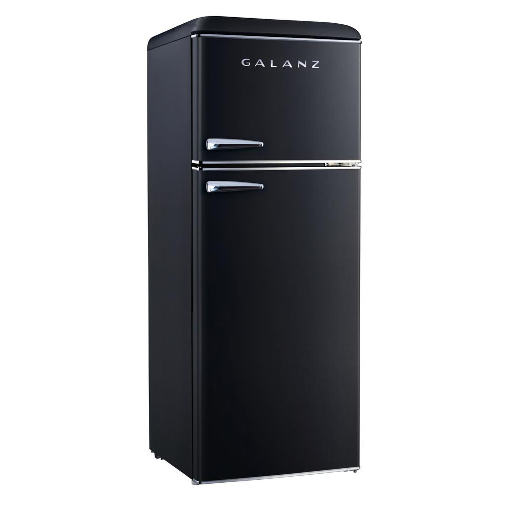 Galanz 7 6 Cu Ft Retro Mini Refrigerator With Dual Door And True Freezer In Black Glr76tbker The Home Depot