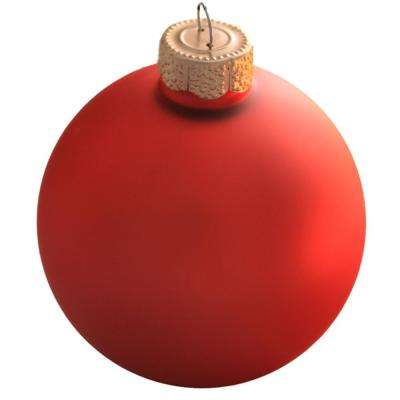 4 in. Orange Matte Glass Christmas Ornaments (6-Pack)