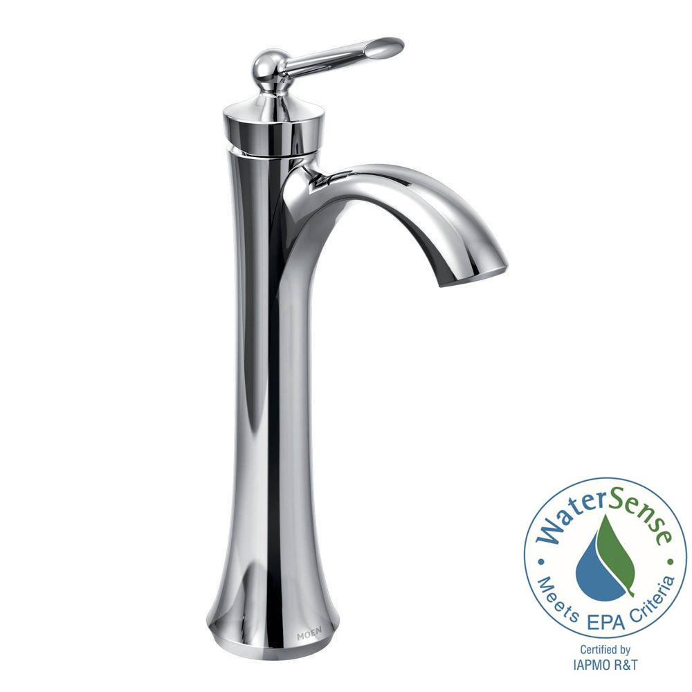 MOEN Wynford Single Hole Single-Handle Vessel Bathroom Faucet in ...