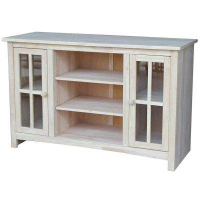 48 in. Unfinished Wood TV Cabinet Fits TVs Up to 50 in. with Storage Doors