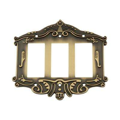 Victorian Switch Plate with Triple Rocker in Antique Brass