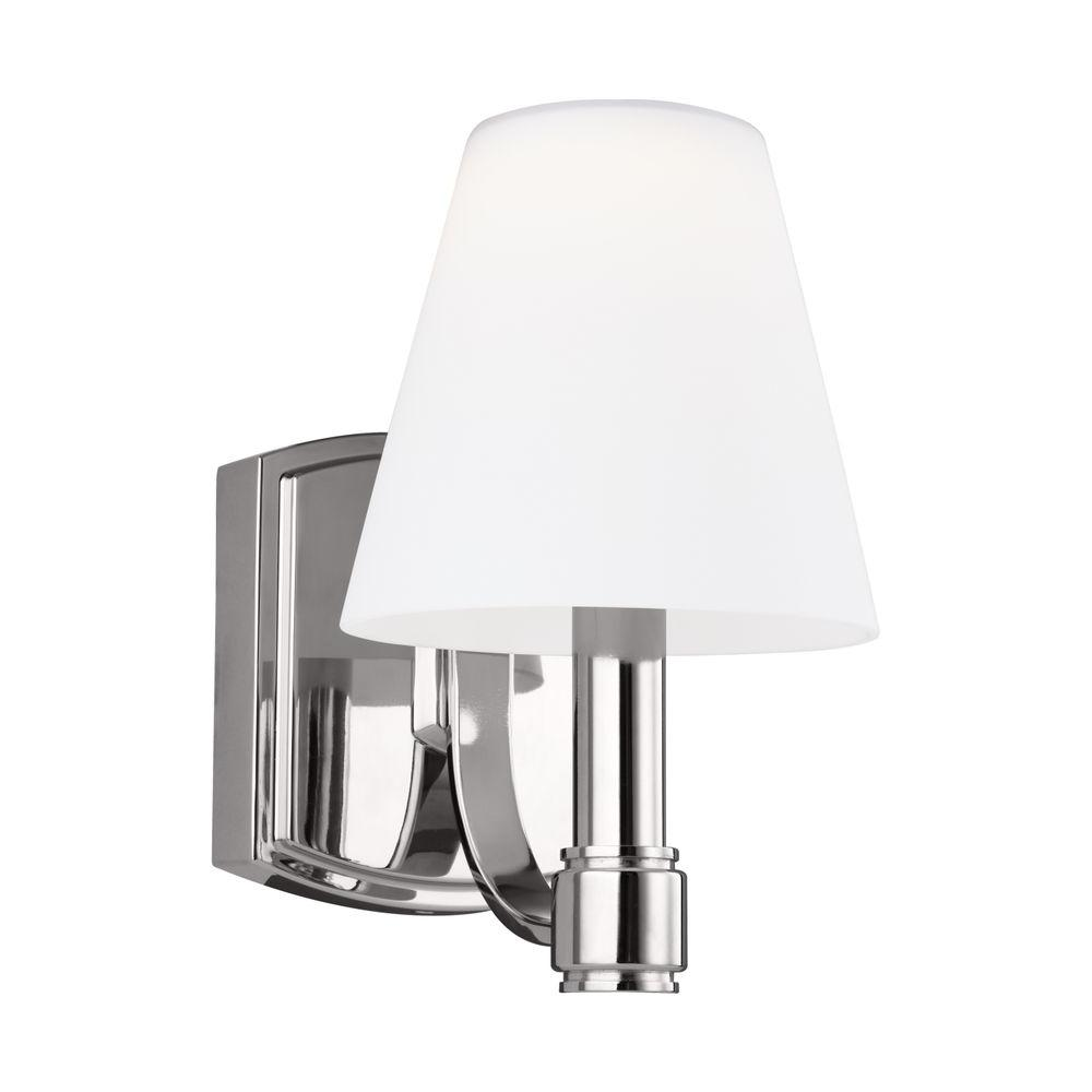 Sea Gull Lighting Driscoll 1 Light Brushed Nickel Wall Bath Sconce With Inside White Painted