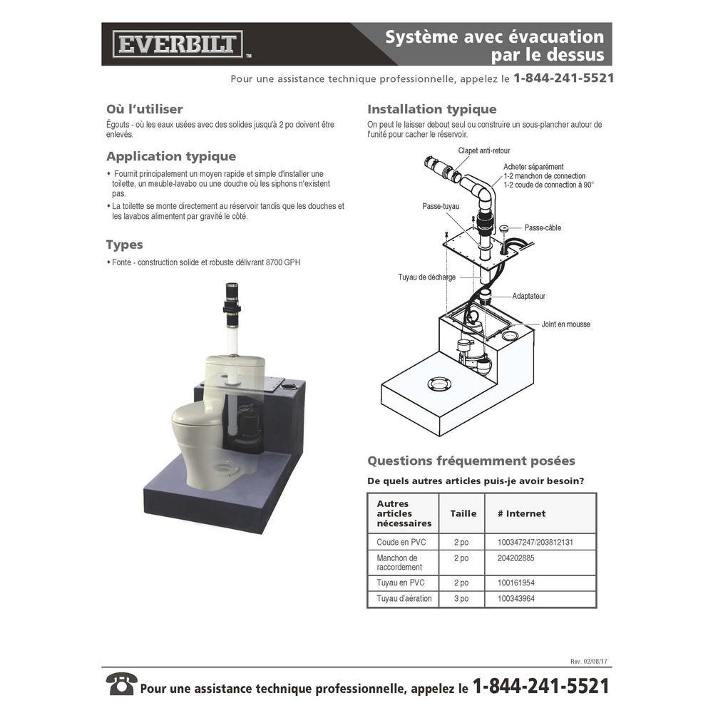 Un Toilette Ou Une Toilette everbilt 1/2 hp upflush system sewage pump kit