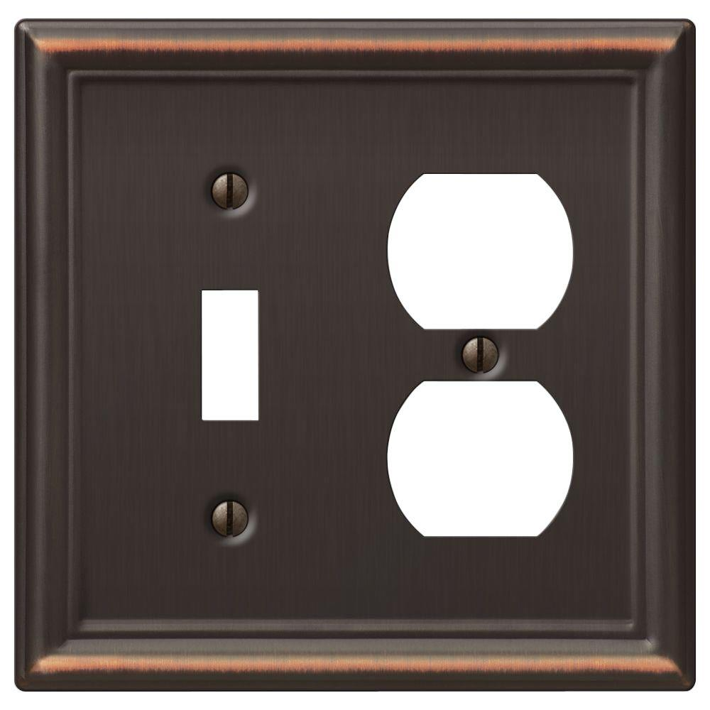 chelsea 1 toggle and 1 duplex wall plate aged bronze